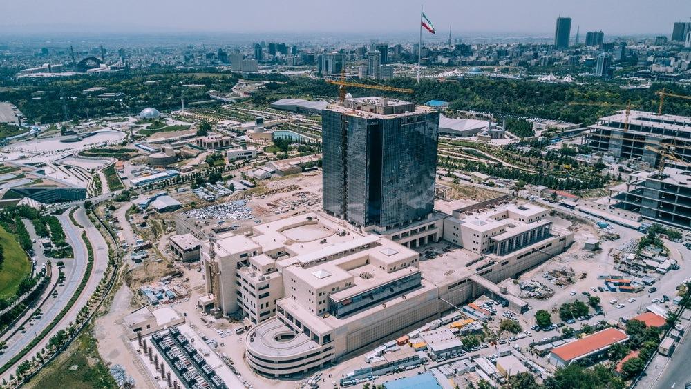 تصویر هوایی از بالای ساختمان بانک مرکزی جمهوری اسلامی ایران