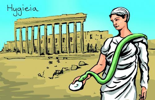 Hygieia, in Greek religion, goddess of health.