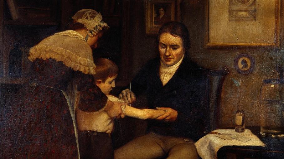 دکتر جنر اولین واکسیناسیون خود را در جیمز فایپس، پسر 8 ساله انجام داده است. 14 مه 1796. نقاشی توسط ارنست هیئت (اوایل قرن بیستم).