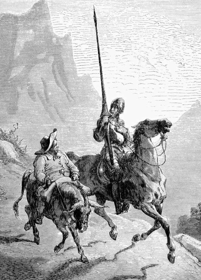 دون کیشوت دون کیشوت (سمت راست) و خادمش سانچو پانزا در تصویرگری از کتاب دون کیشوت ، نوشته میگل دو سروانتس به تصویر کشیده شده است. این تصویر در نسخه ای از كتاب منتشر شده است