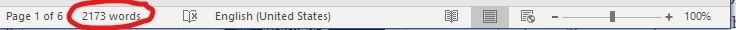 Word count status bar in Word