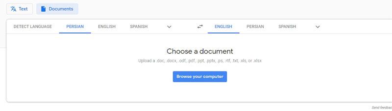 ترجمه فایل پی دی اف توسط گوگل
