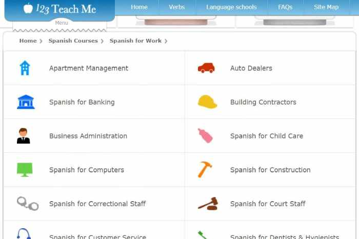 123 Teach Me Spanish lessons for work