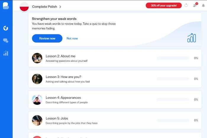 Busuu language learning page for Polish