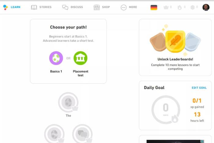 Duolingo learn page for German